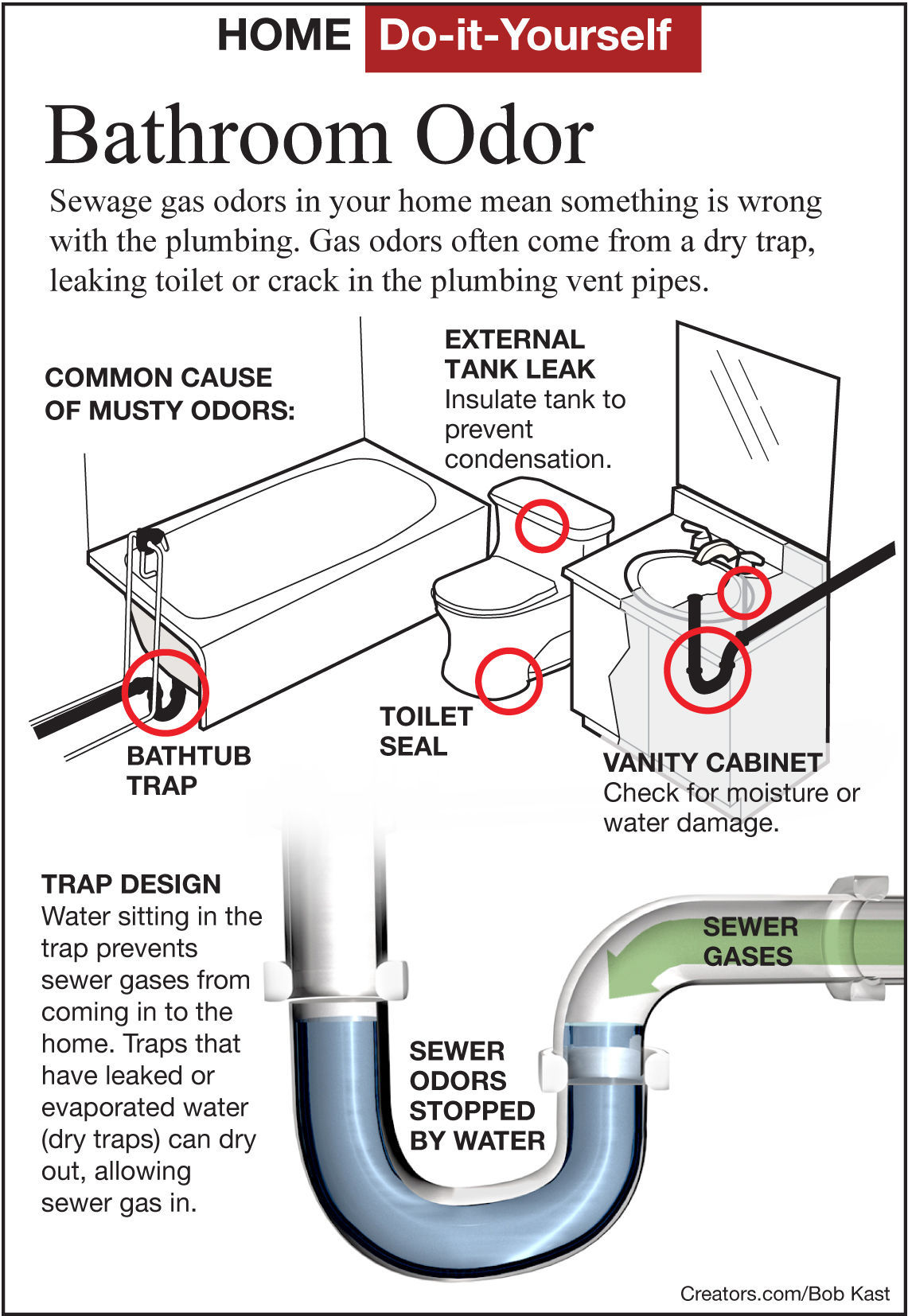 Find A Sewer Gas Odor In A Bathroom