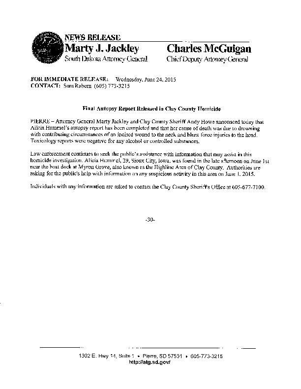 Click here to read the release about the autopsy report.