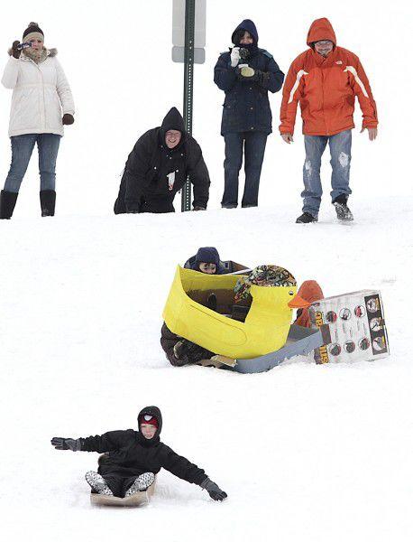 The annual RiverCade cardboard sled race