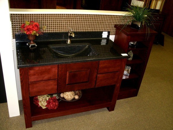 Central Kitchen U0026 Bath Supply Will Be Featuring A Koch Vanity In Beech Wood  With A Burgundy Stain, Covered With A Black Volcano Onyx Top, And Featuring  A ...