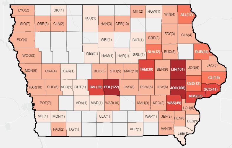 April 5 Iowa map