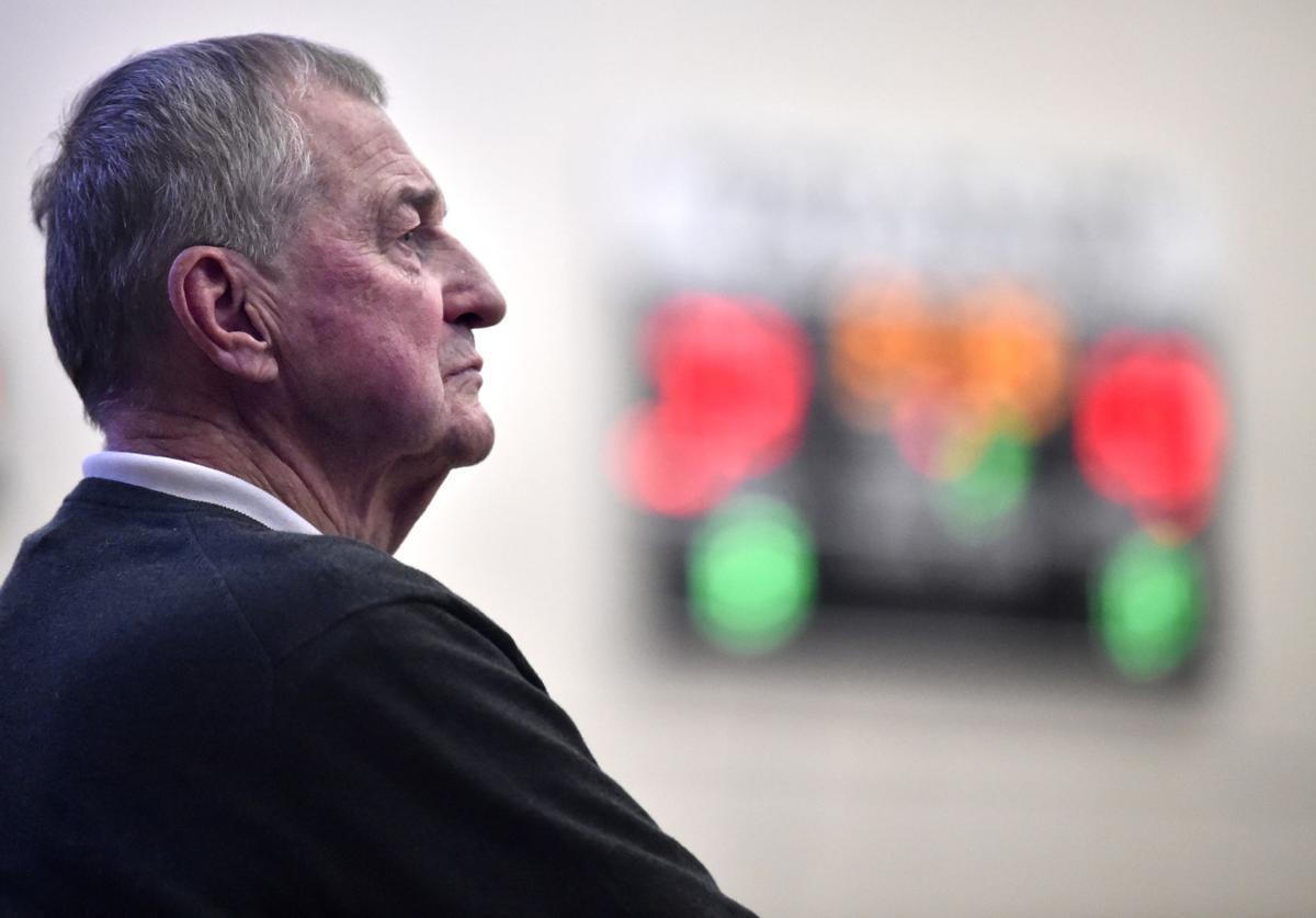 St. Joseph's head coach Jim Calhoun watches his team play against Albertus Magnus in the men's GNAC Championship at Cosgrove Marcus Messer Athletic Center in New Haven Saturday Februrary 23, 2019.