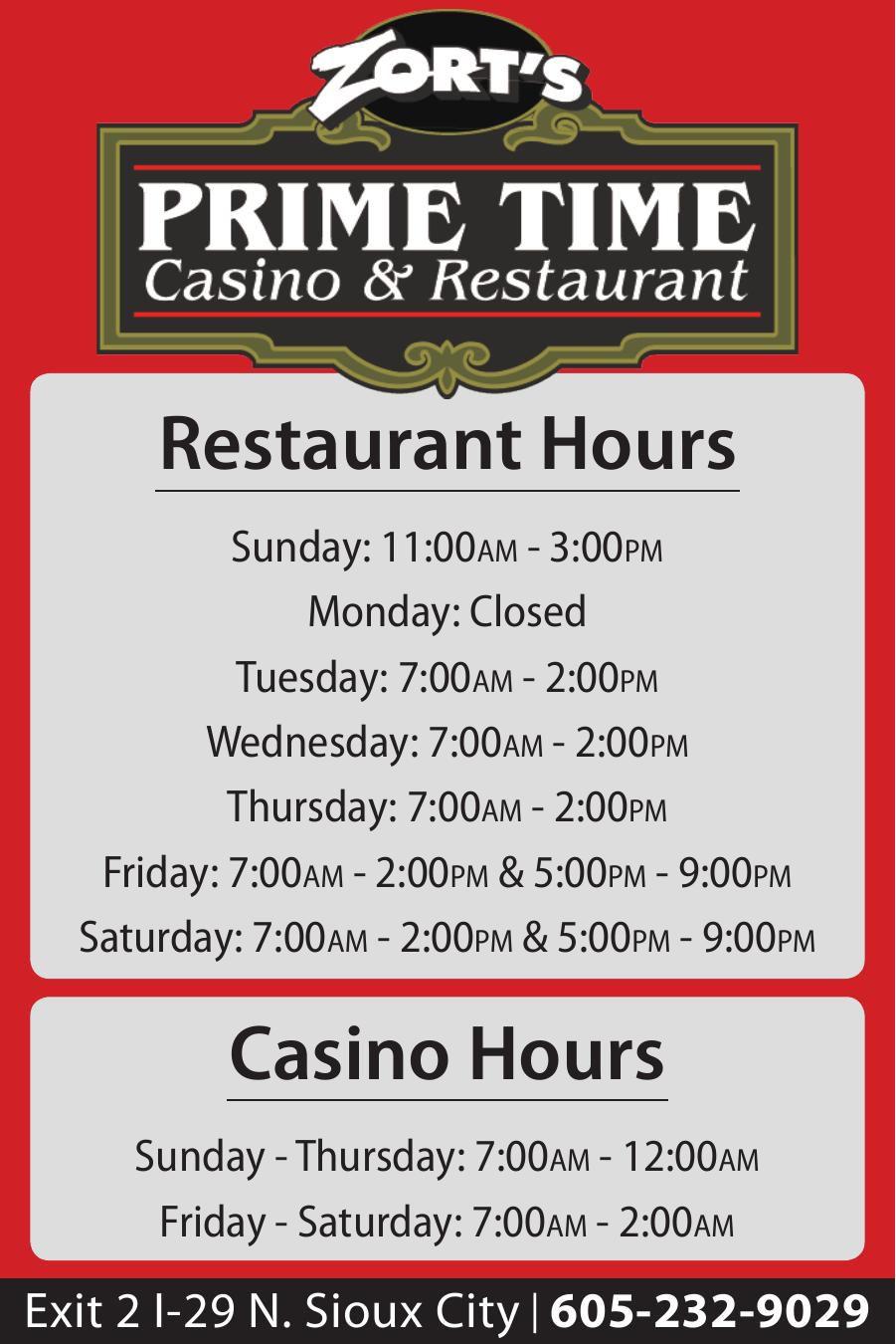 Restaurant & Casino Hours