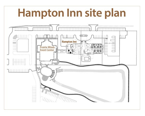 A Site Plan For The Hampton Inn In Orange City Iowa Is Shown Above