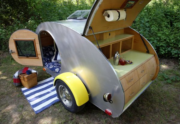The Can Em Danno Teardrop Trailer Is Parked In A Campsite At Casini Ranch Family Campground Duncans Mills Calif