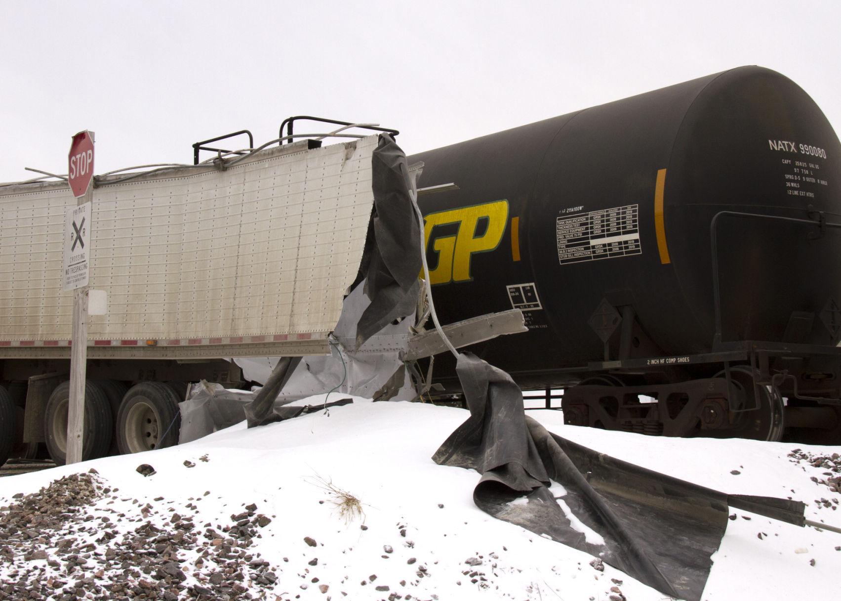 Semi cut in half during train crash Monday in Sioux City