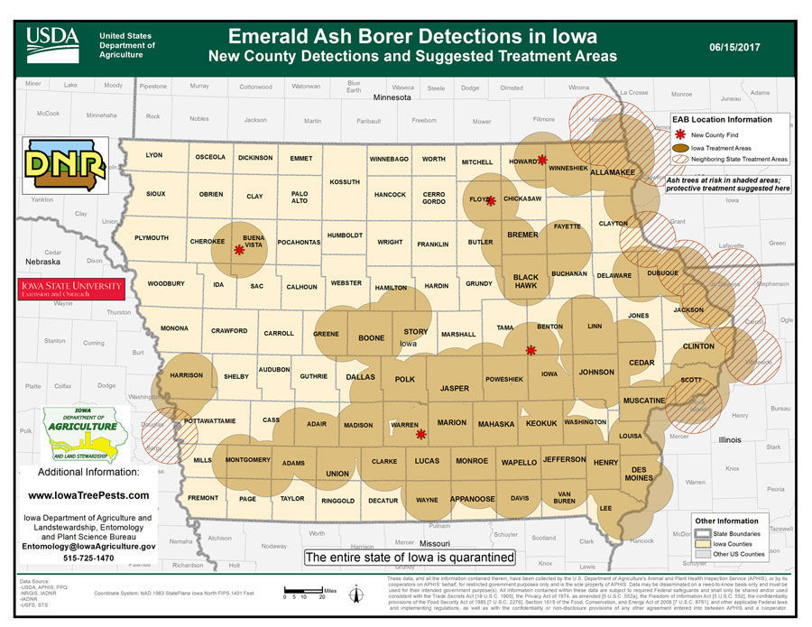 Emerald Ash Borer map 2017