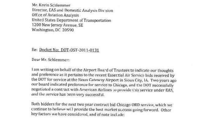 Sioux Gateway Airport Board EAS letter to U S  Department of