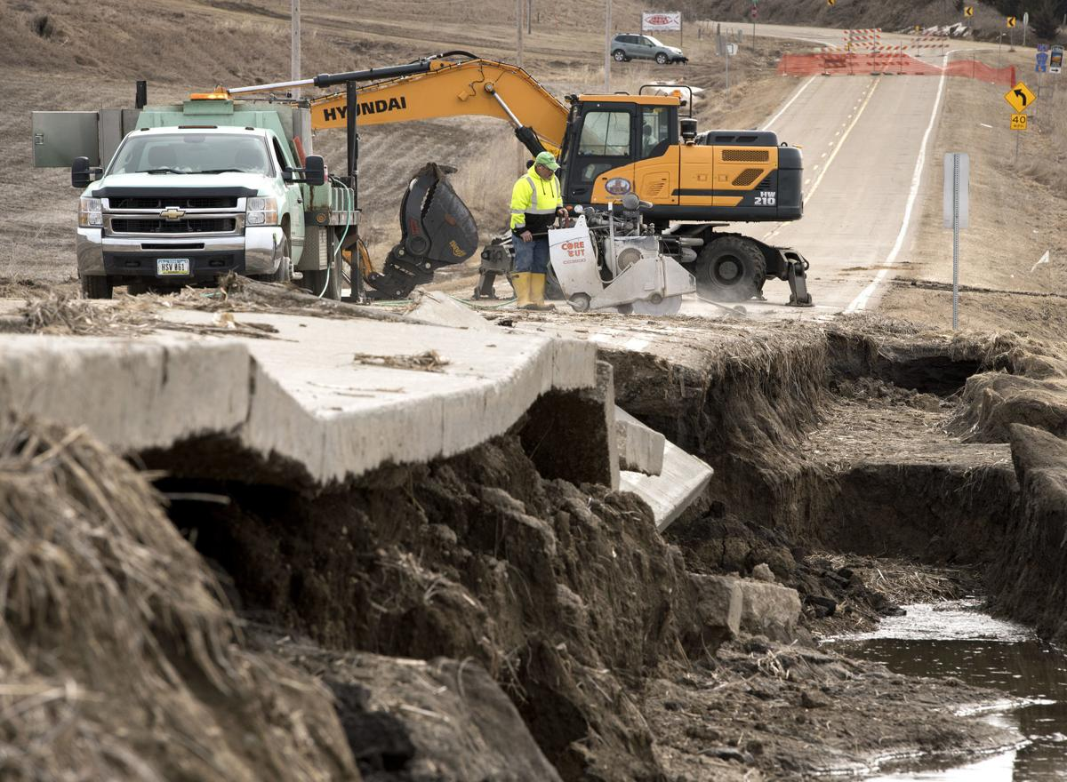 Flooding road damage