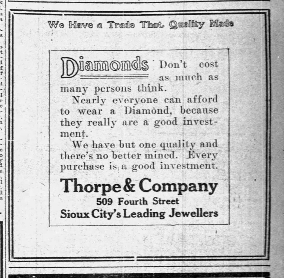 Thorpe advertisement July 1913