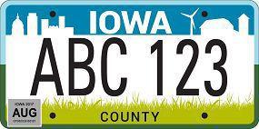 Iowa license plate