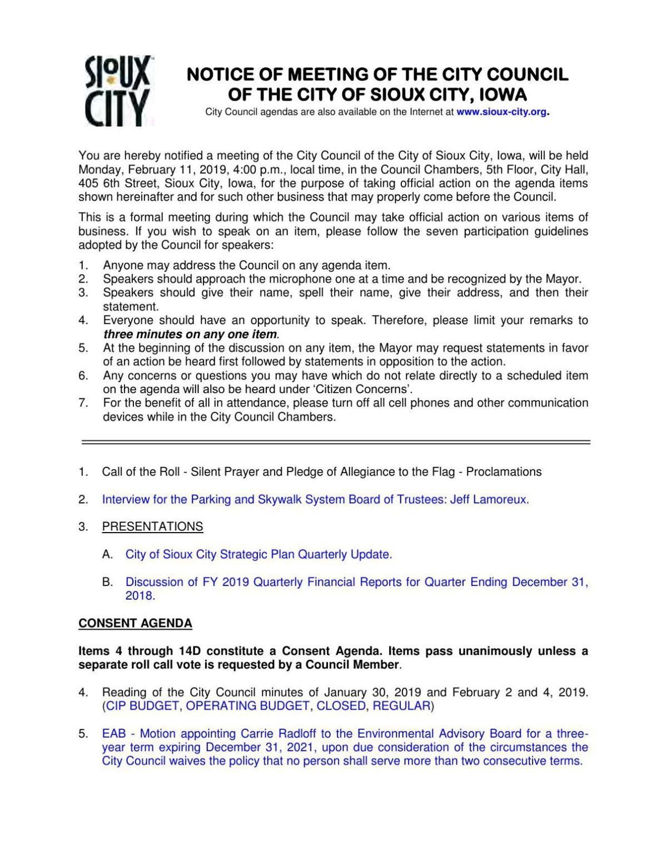 Click here to read Monday's council agenda