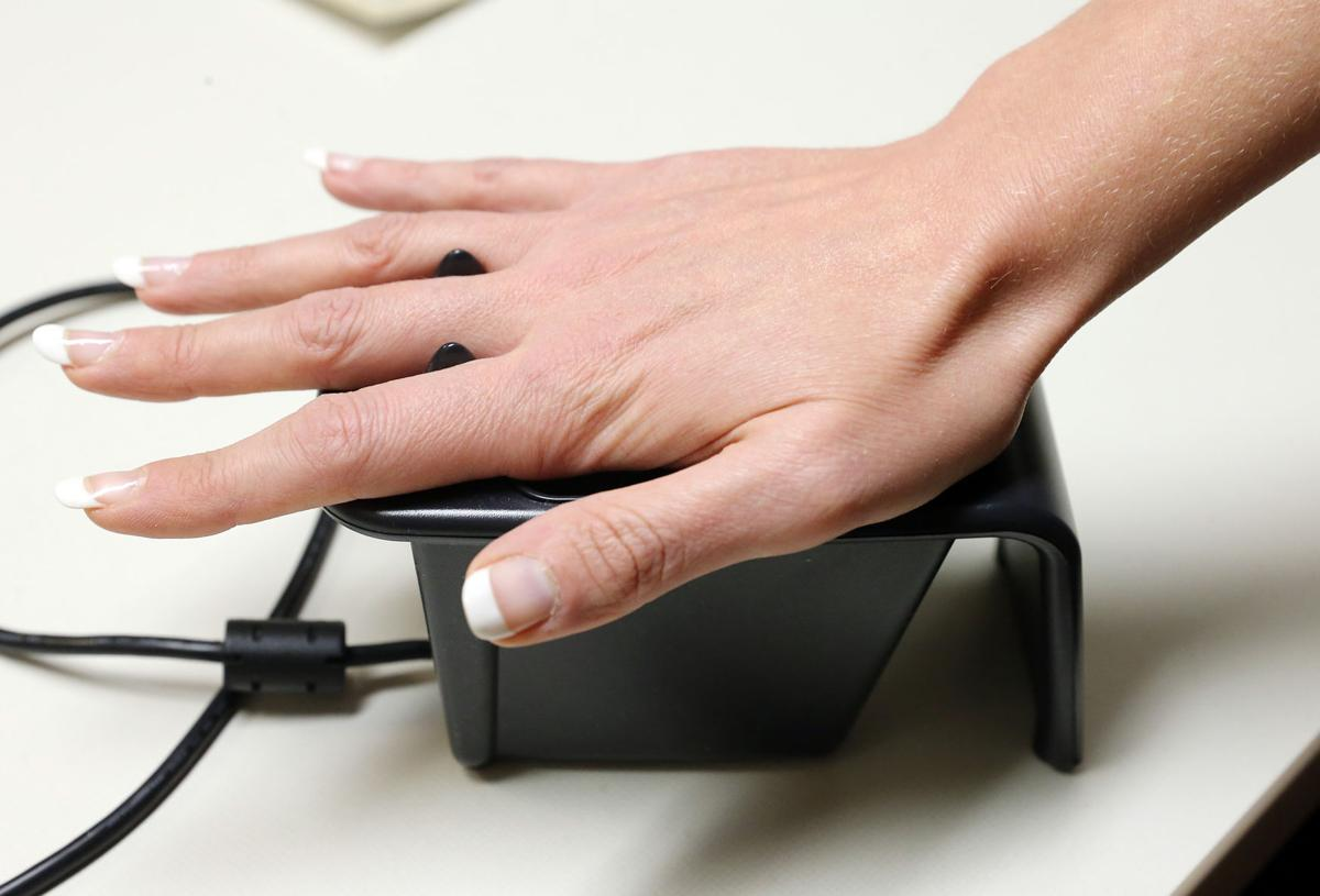 Mercy Medical Center palm scanning device