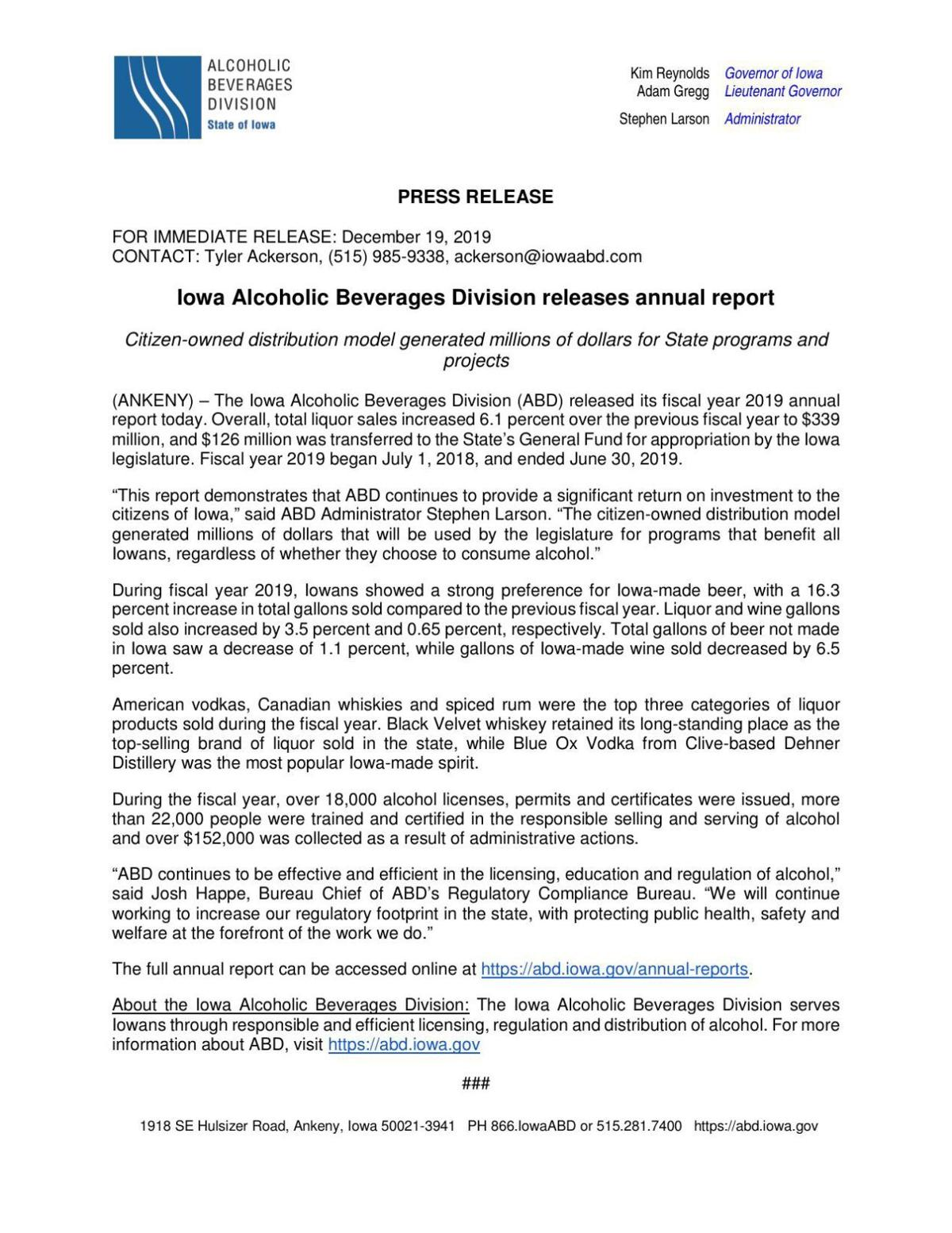 Press Release - Iowa Alcoholic Beverages Division releases annual report 12-19-19