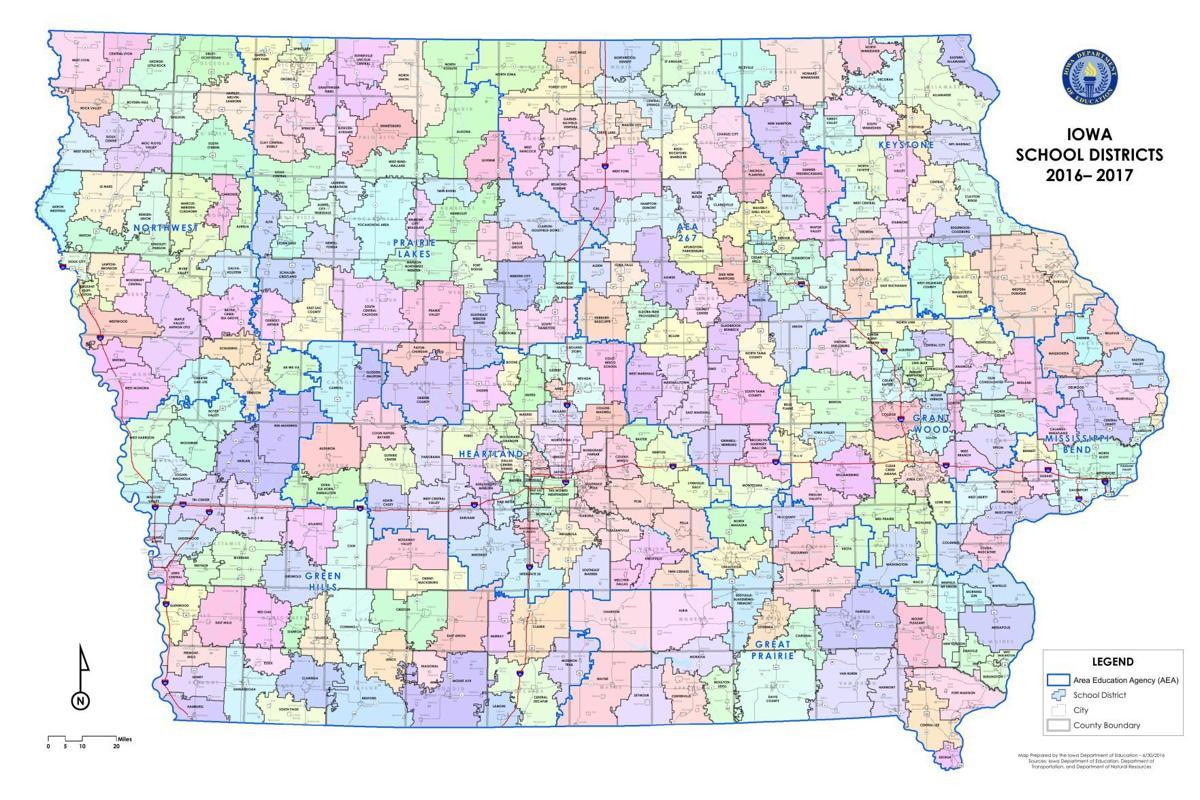 Iowa school districts map