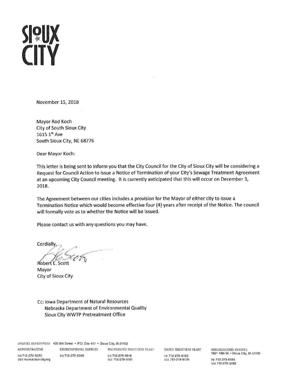 Sewage treatment agreement letter