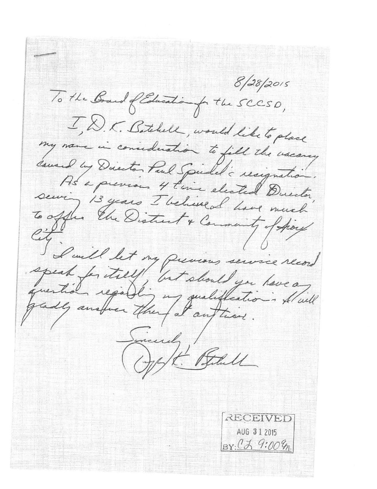 School board vacancy letters of interest