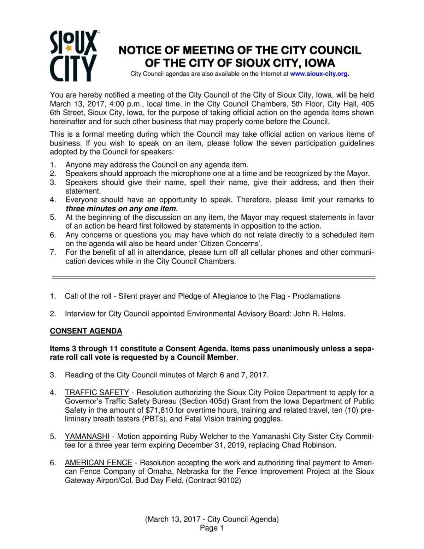 Sioux City Council Agenda, 3/13/2017     siouxcityjournal com