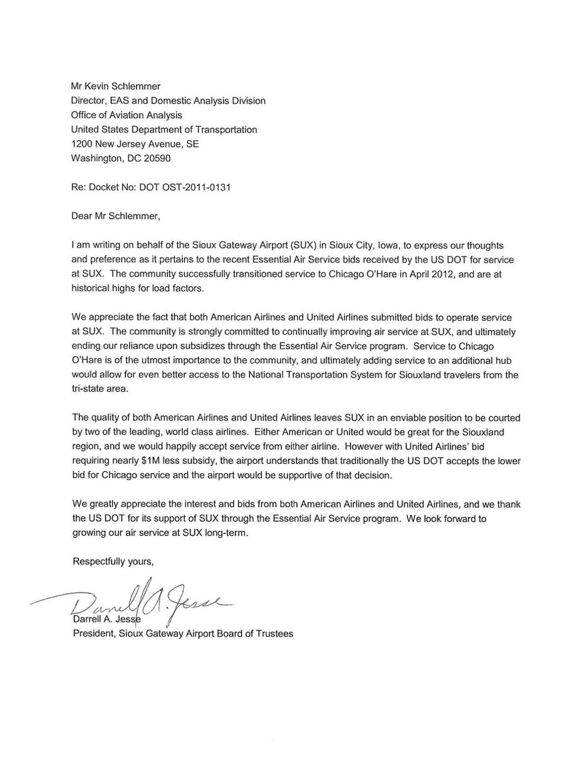 Sioux Gateway Airport Trustees Letter To U S Dot Backing United