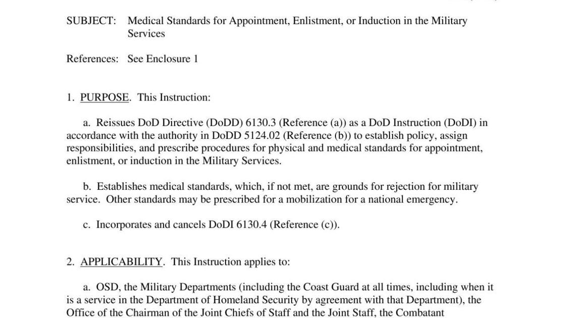 Medical Standards For Appointment Enlistment Or Induction In The