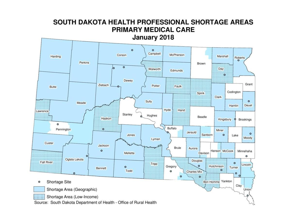 South Dakota primary care shortage areas