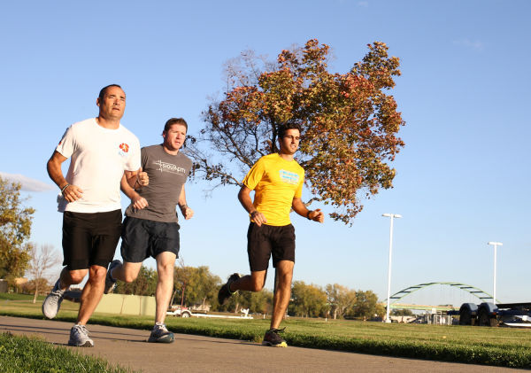 Runners along riverfront