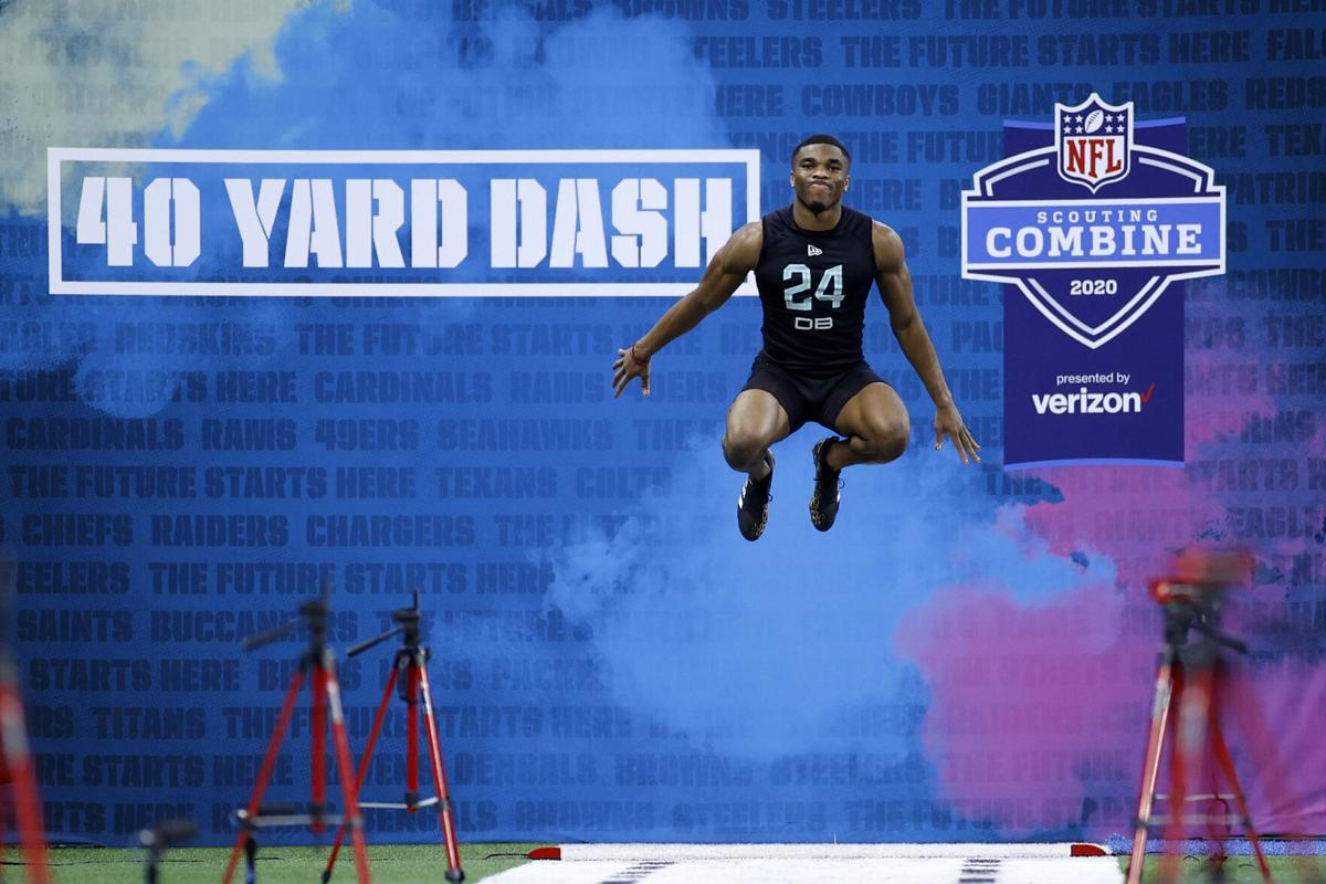 Defensive back Jeff Okudah of Ohio State prepares to run the 40- yard dash during the NFL Combine at Lucas Oil Stadium on Feb. 29, 2020 in Indianapolis, Indiana.
