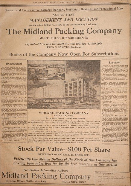 Sioux City stockyards Midland Packing Company