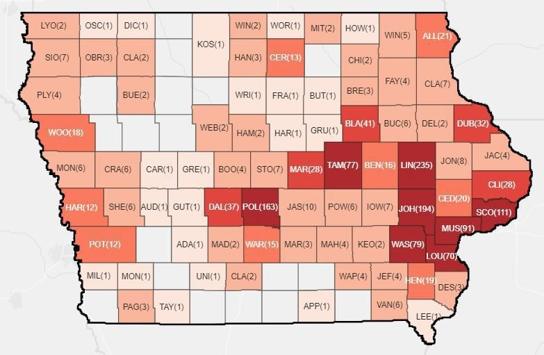 Iowa Map Of Counties Crawford County patient dies of COVID 19; state total jumps to