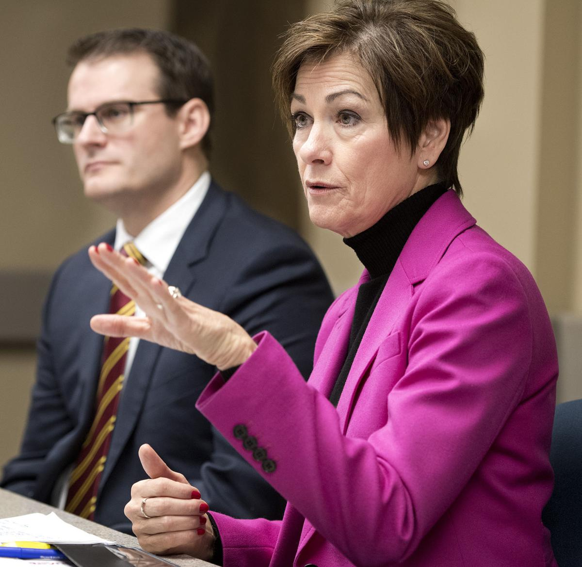Gov. Kim Reynolds and Lt. Gov. Adam Gregg editorial board