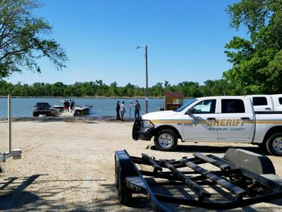 Emergency personal arrive at boating accident on Browns Lake