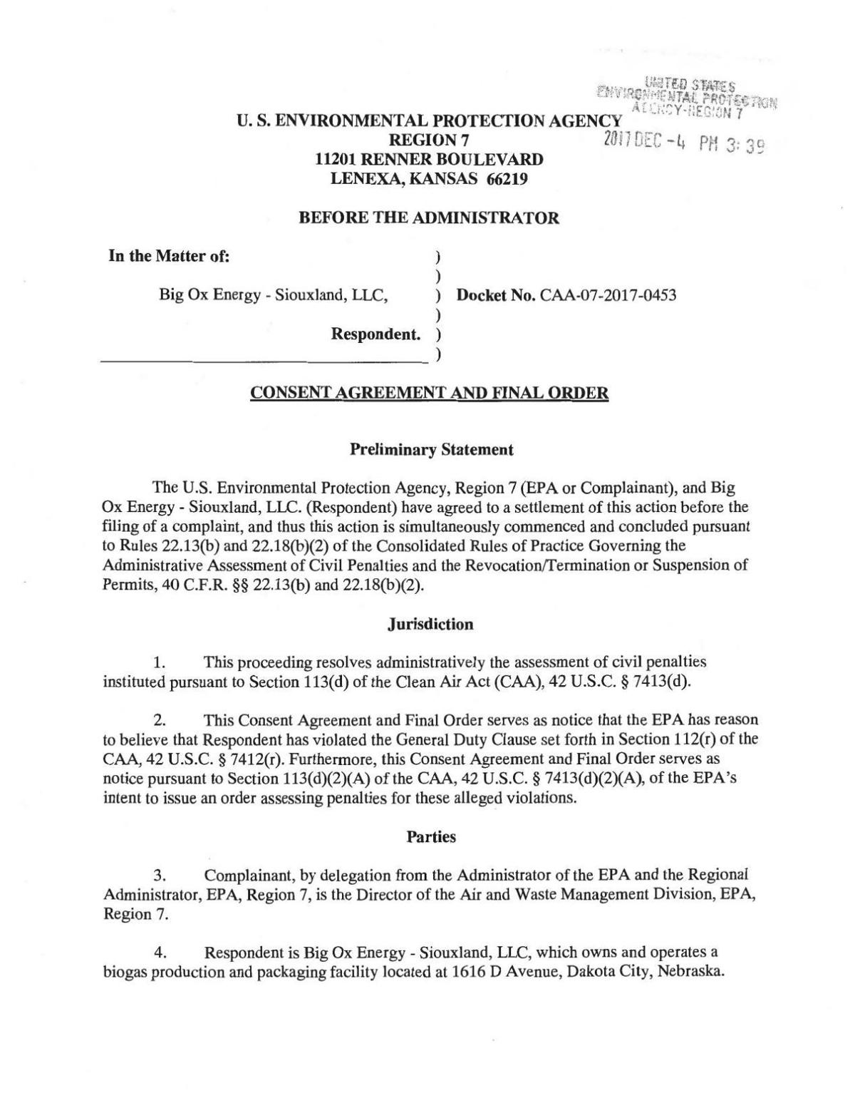 Click here to read Big Ox Energy's settlement with the EPA