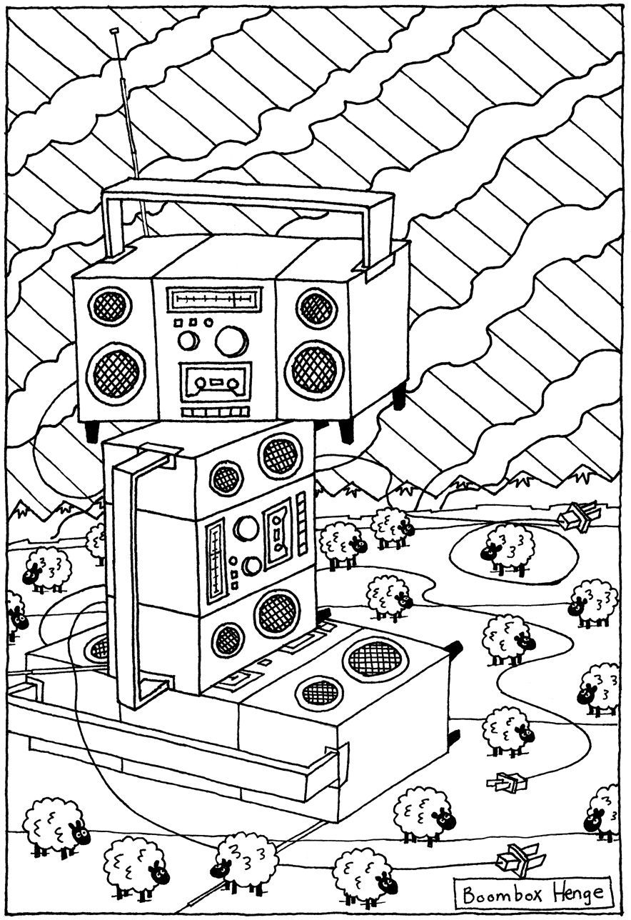 boombox henge coloring page