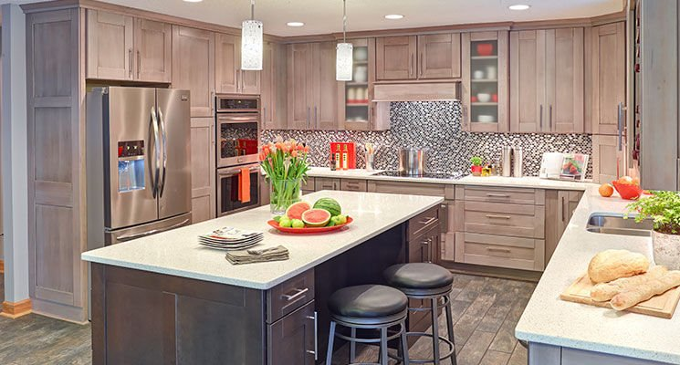 Shown Here Are Ash And Cherry Cabinets With A Murano Door Style And Black  Glaze By Mid Continent Cabinetry, Sold At Central Kitchen U0026 Bath.