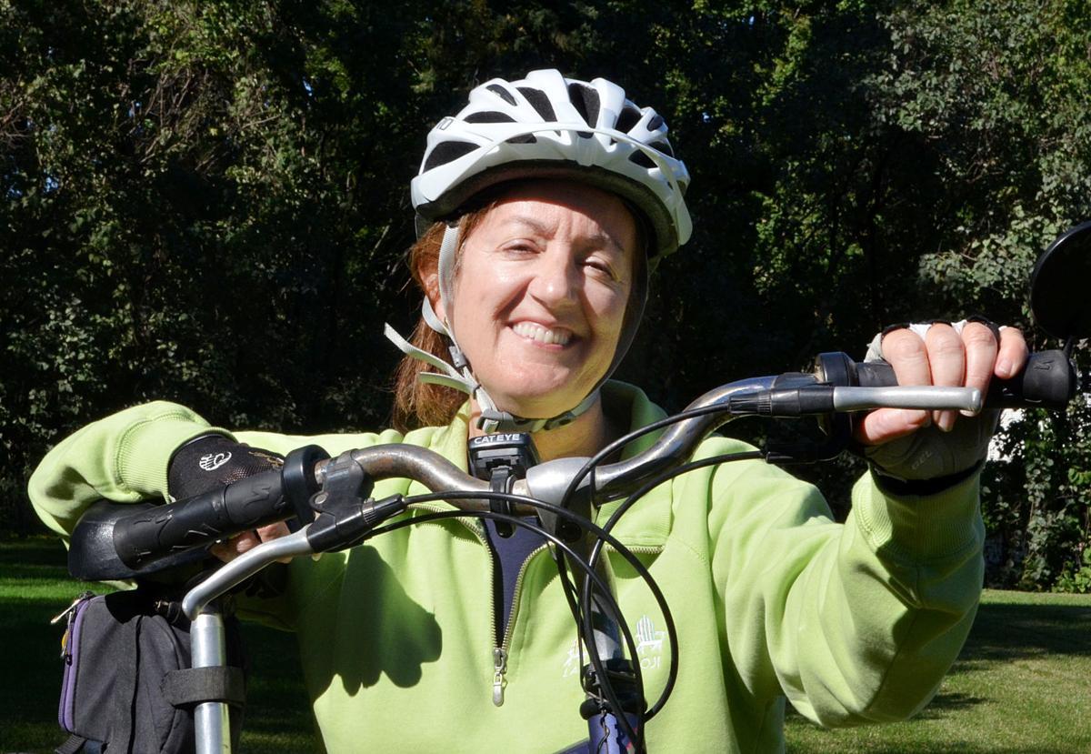 Katie Colling of Women Aware (bike)