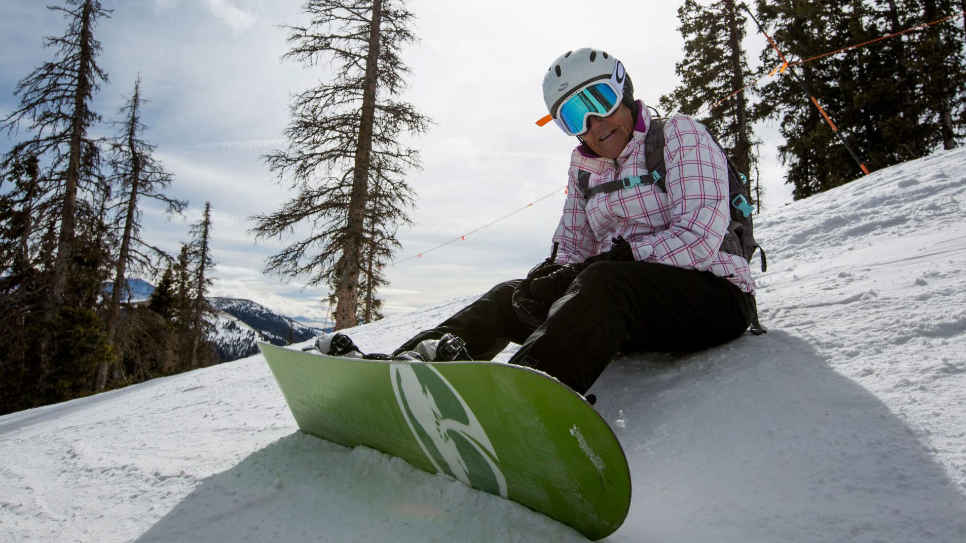 At 81, Colorado woman defies odds on snowboard