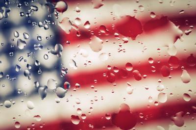 Rainy American flag