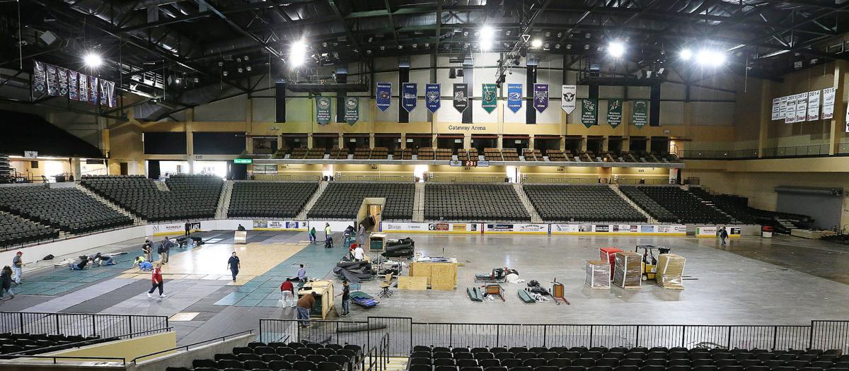 Tyson Events Center NAIA Volleyball National Championship set-up