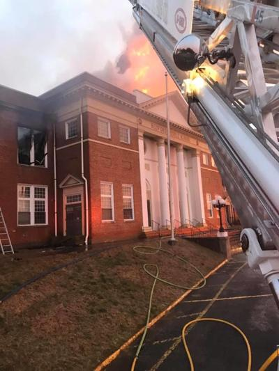 Fire at former Bedford Middle School