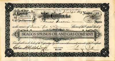 Skaggs Springs Oil and Gas stock
