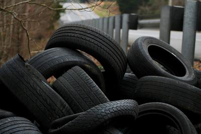Tires pile up off Hermanville Road