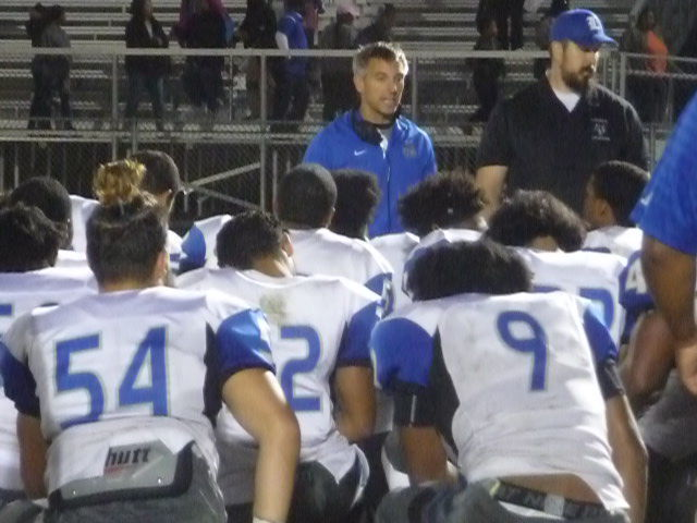 john lush addresses his team after a win at calvert to close out the 2017 regular season lush recently stepped down as the lackey head football coach after
