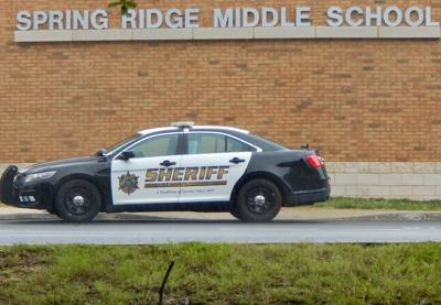 A file photo depicts a response by St. Mary's sheriff's deputies to Spring Ridge Middle School, south of Lexington Park.
