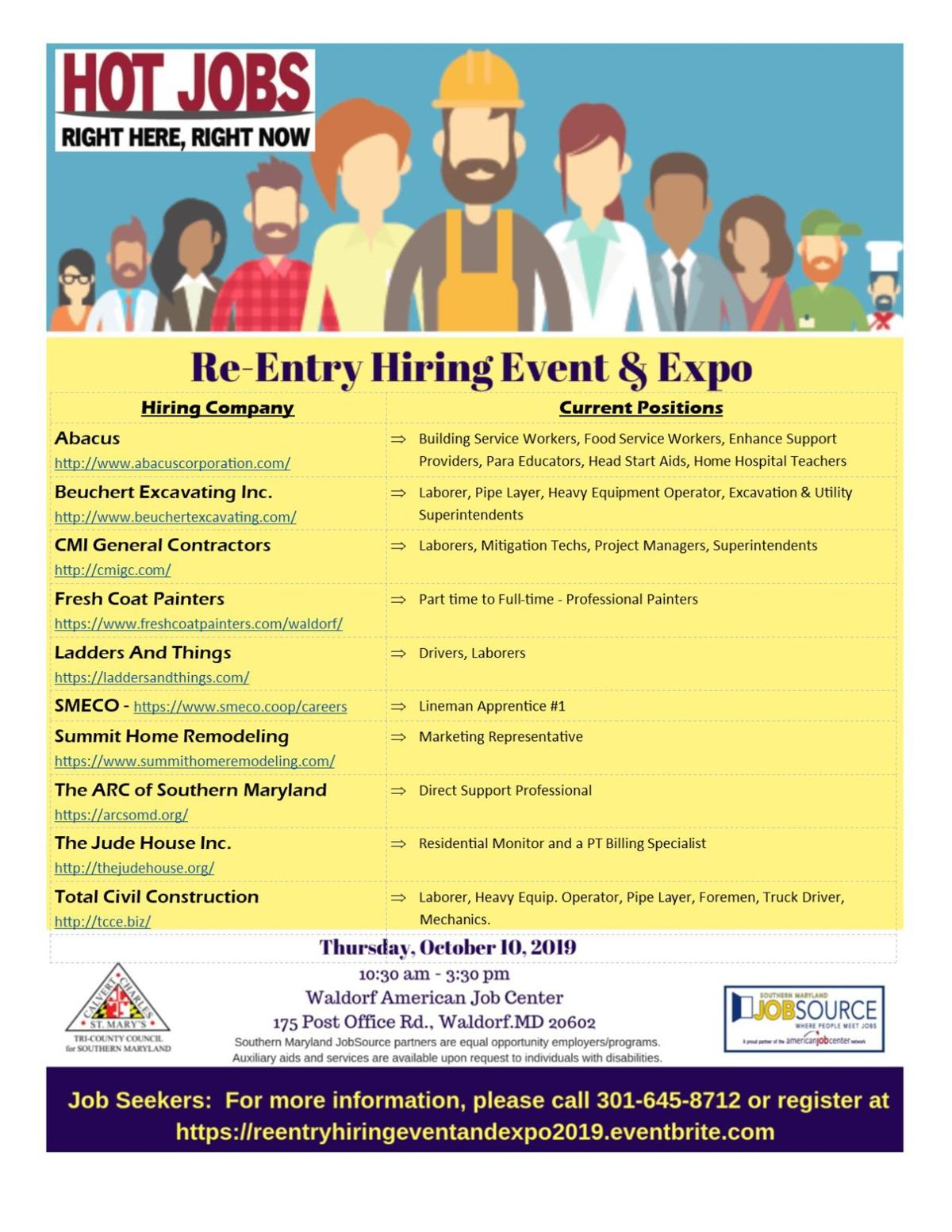 ReEntry Hiring Event Hot Jobs