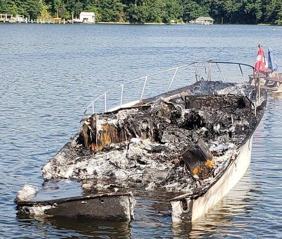 Yacht damaged by fire in St. Leonard Creek