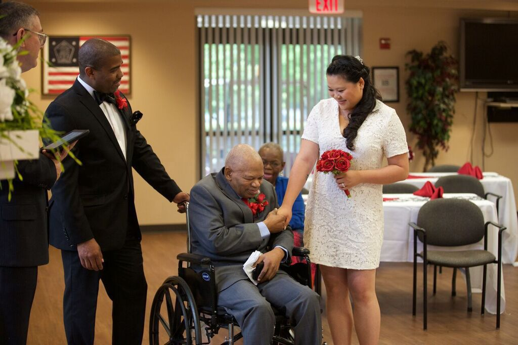 Charles Frazier, Middle, Holds His Daughter In Law Victoria Chan Frazieru0027s  Hand While His Son, Michael Chan Frazier, Looks On During The Coupleu0027s  Wedding ...