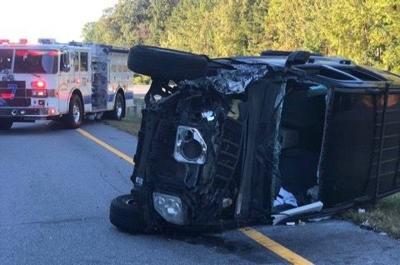 Vehicle rolls over after crash