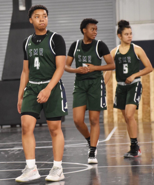 Imani Eubanks, Chalon Miles, Mikayla Hefferon (St. Mary's Ryken girls basketball)