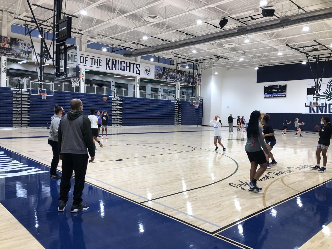 St. Mary's Ryken girls basketball practicing
