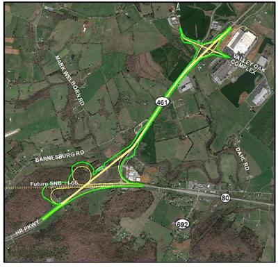 KYTC satellite map of 461 project